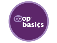 a photo of a purple sign that says Co-op basics