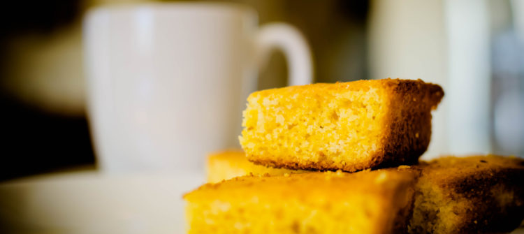 a photo of corn bread and coffee