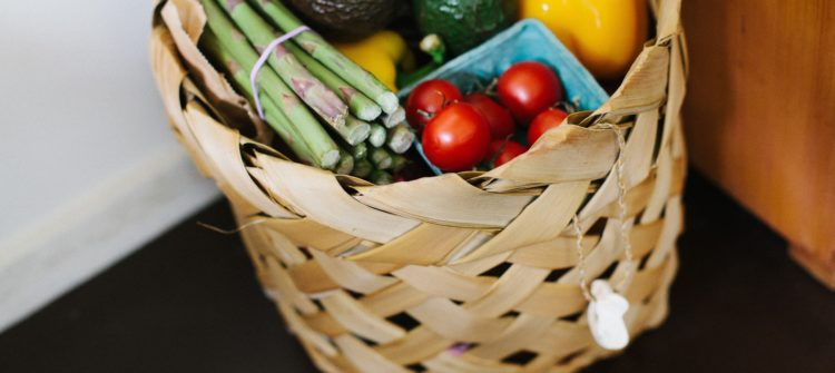 a photo of a basket of fresh groceries