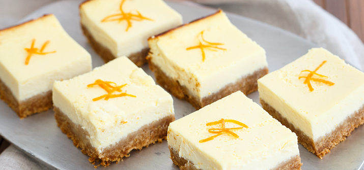 a photo of tangerine ricotta bars