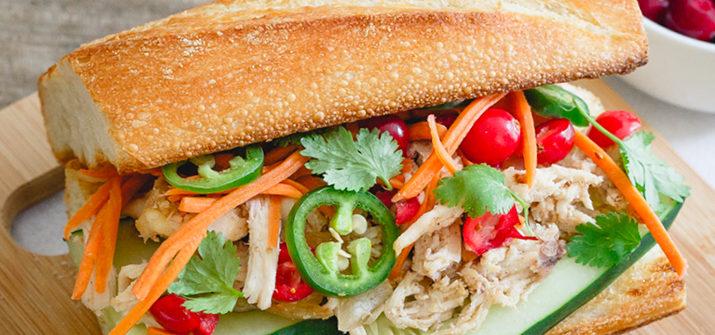a photo of a turkey banh mi sandwich