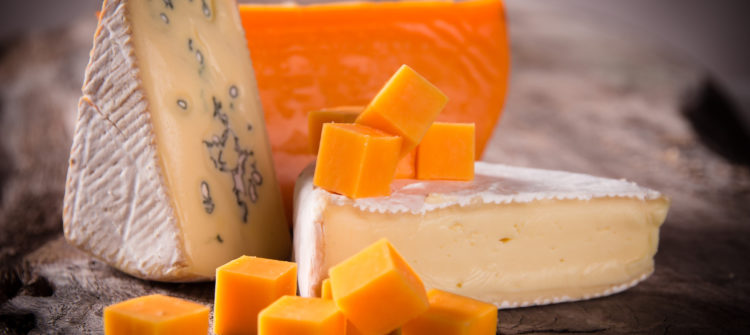 a photo of Various types of cheese