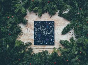 """a photo of a sign that reads """"happy new year"""" surrounded by fir branches"""