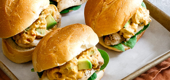 a photo of avocado hummus chicken sliders