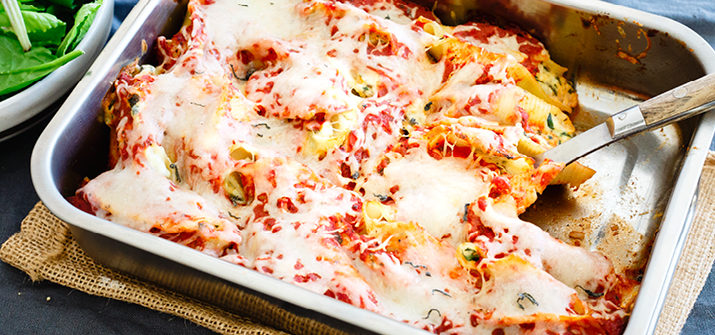 a photo of a tray of stuffed shells