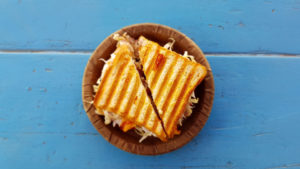 a photo of a grilled cheese sandwich