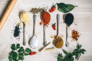 a photo of spoonfuls of spices