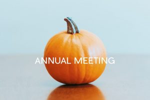 """a photo of a pumpkin with """"annual meeting"""" written across it"""