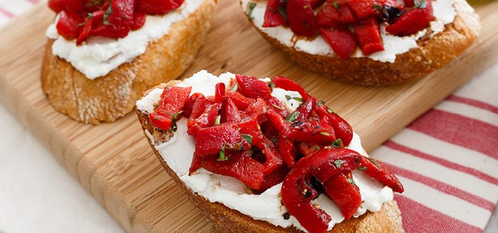 a photo of Grilled Goat Cheese Crostini with Roasted Peppers