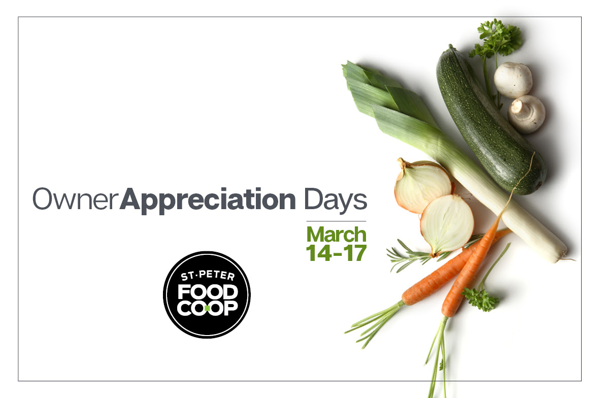 a photo of vegetables on a white background with Owner Appreciation Days, March 14-17 written on top