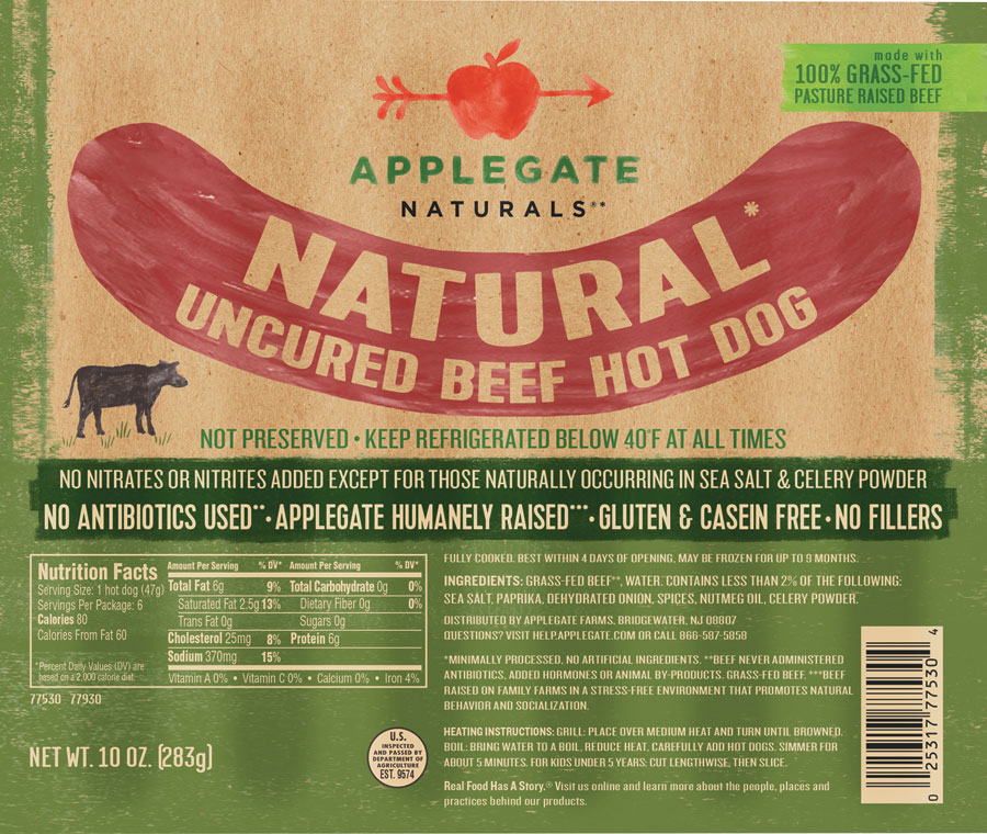 a photo of applegate hot dogs