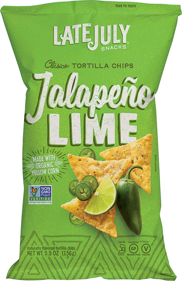 a bag of late july tortilla chips