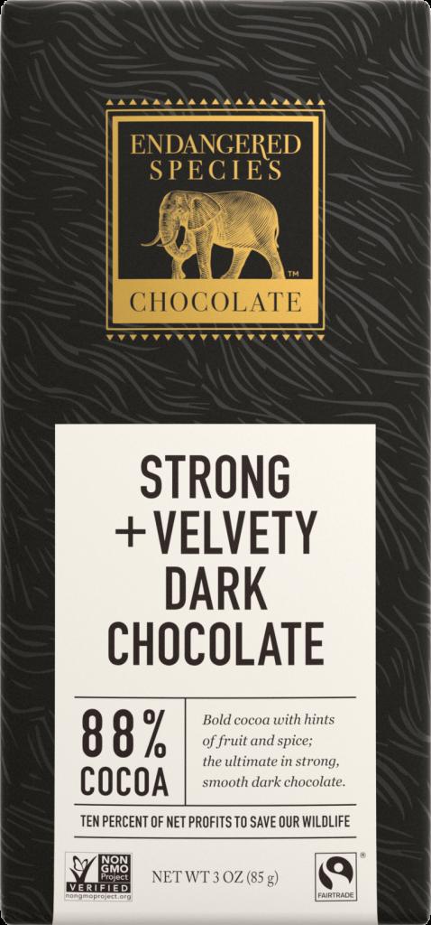 a photo of an endangered species dark chocolate bar
