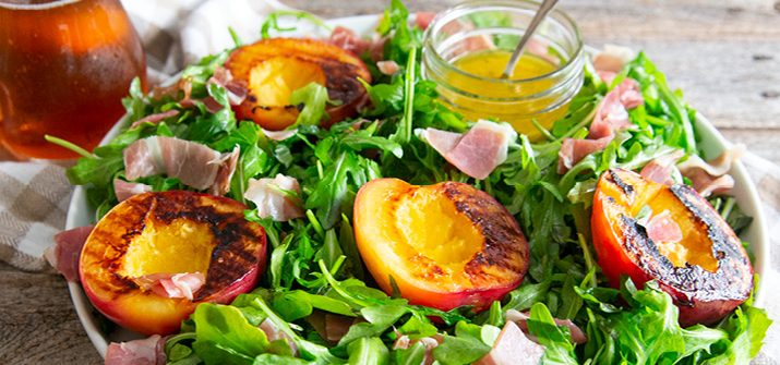 a photo of a Prosciutto and Grilled Nectarine Salad