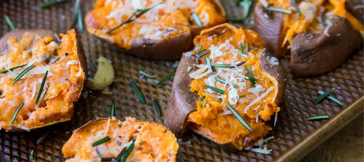 garlic parmesan smashed sweet potatoes